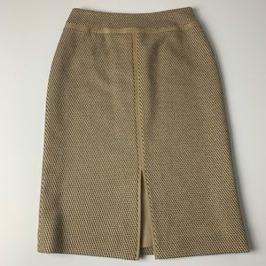 Carlisle | Tan/Black pencil skirt front slit Sz 2